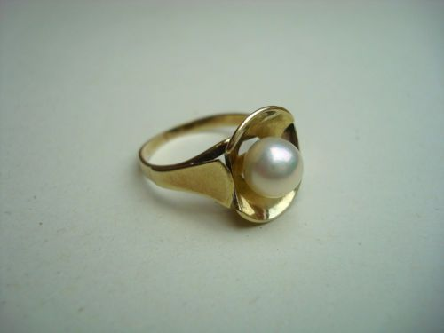 Damen Ring Gold 585 mit Perle Art alt