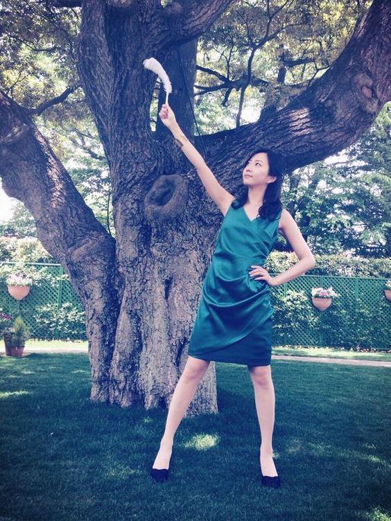 緑のドレスの木南晴夏