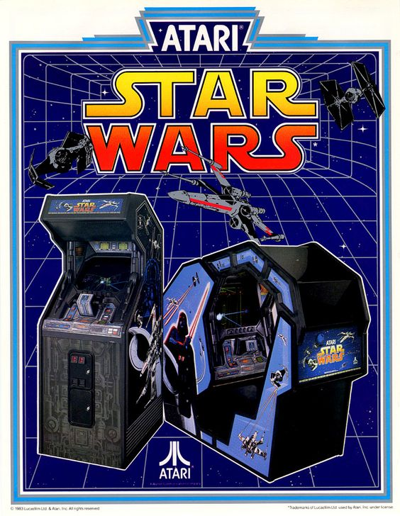 Classic Ads: Star Wars (1983)  The game is available as a standard upright or a sit-down cockpit version, both of which are elaborately decorated. It features several digitized samples of voices from the movie, including Mark Hamill as Luke Skywalker, Alec Guinness as Obi-Wan Kenobi, James Earl Jones as Darth Vader, Harrison Ford as Han Solo, the mechanized beeps of R2-D2, and the growls of Chewbacca. [Wiki]