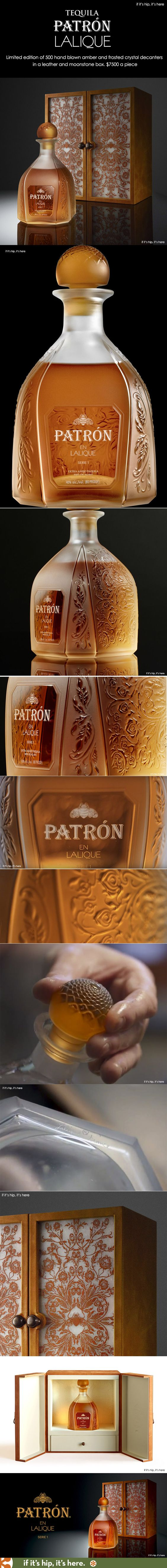 Tequila brand Patrón and Lalique, the historical French crystal maker, have combined their talents for the first time to collaborate on this one-of-a-kind elegant hand blown crystal decanter holding the rarest, oldest blend of Patrón tequila. Packaged in a leather display case with gemstone details, there are only 500 units available globally, priced at $7500 a piece.