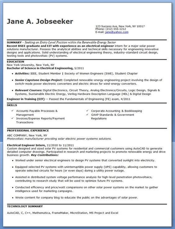 Electrical Engineer Resume Examples   campanards tk Engineering Resume Objectives Samples Free Resume Templates    http   www jobresume