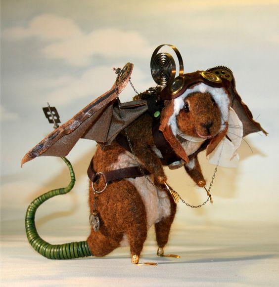 Flying  Steampunk Rat OOAK Artist Needle felt Sculpture by Stevi T. Introductory Price. $1,195.00, via Etsy.  WOW!