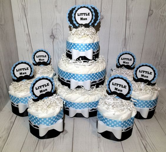 Little Man Diaper Cake Centerpiece Set