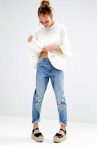 Le Fashion Blog Summer Style Top Knot White Blouse Slouchy Embroidered Jeans…
