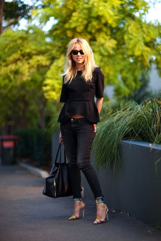 peplum: Black Top, Peplum Tops, Fashion Style, All Black, Street Style, Fashion Week, Peplumfashions Peplumtops, Black Peplum, Elin Kling