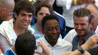 Former Brazilian international Kaka, former Brazilian international Pele and former England international David Beckham look on