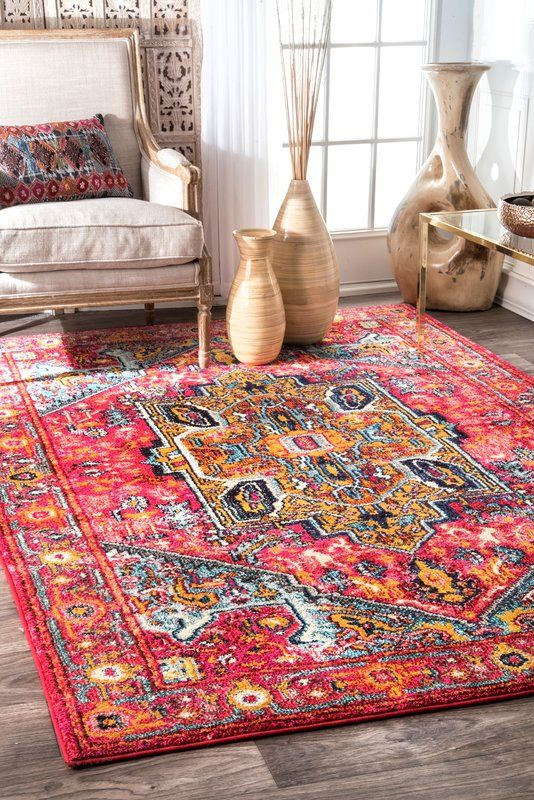 Daria Pink Red Area Rug With Images Area Rugs Red Area Rug Area Rugs For Sale