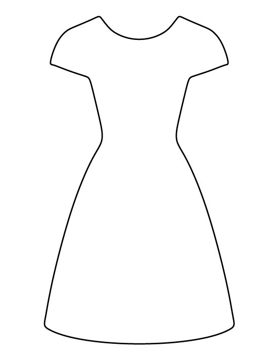 Dress pattern. Use the printable outline for crafts creating stencils scrapbooking and more ...
