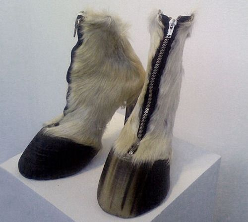 Berlin artist Iris Schierferstein's new shoes. Above isHoofs (2005) with horse hooves and zippers.