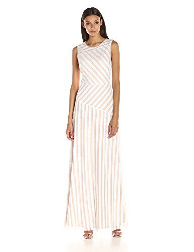 Donna Morgan Womens Gigi  Boatneck Striped Sequin Gown IvoryNude 10 >>> Click image for more details.