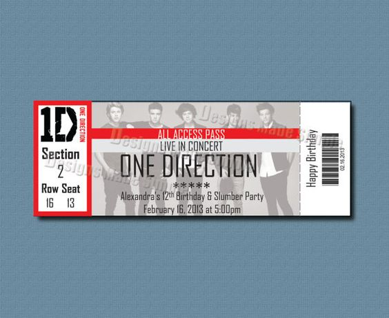 Custom Concert Ticket Invitation - One Direction - Printable