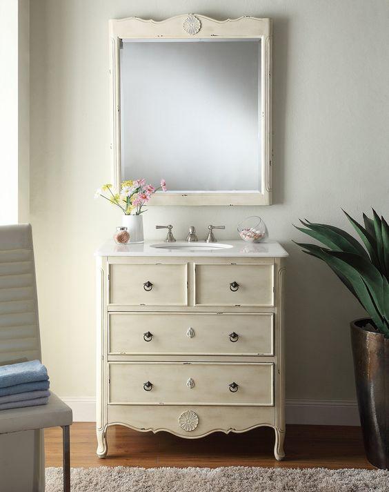 34 Inch Bathroom Vanity: Adelina 34 Inch Vintage Bathroom Vanity, White Marble