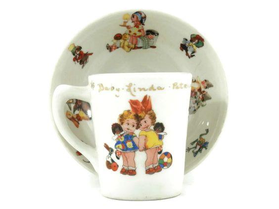 1953 Dolly Dingle Childrens Dish Sey Mug and Bowl Lamberton Scammell