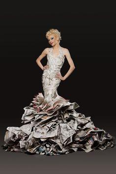 Chicago Paper Dress Artist, Newspaper Dress, Highfashion Newspaper dress, High…