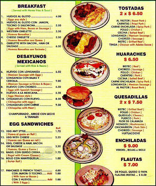 Menu de restaurante mexicano imagui restaurant pinterest for Los azulejos restaurante mexicano