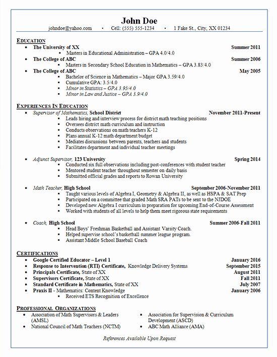 Math Teacher Resume Examples Best Of School Administrator Resume Example Adjunct Supervisor Teacher Resume Examples Teacher Resume Resume Examples