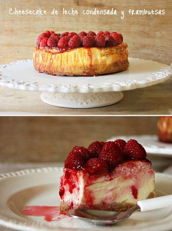 Pecados de Reposteria Pastel de queso con leche condensada y frambuesas - Pecados de Reposteria