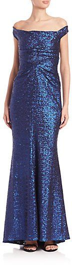 Pin for Later: A Sequinned Dress Is Pretty Much a Party-Season Essential Talbot Runhof Off-the-Shoulder Sequined Gown Talbot Runhof Off-the-Shoulder Sequined Gown (£1,681)