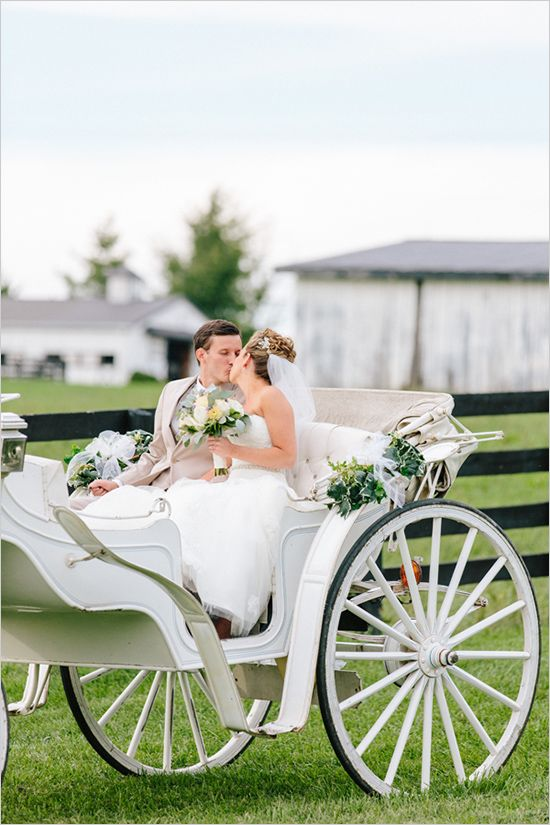 horse drawn carriage at wedding