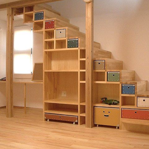 Love the color and light wood. I imagine that you could access the higher drawers by sitting on the steps...