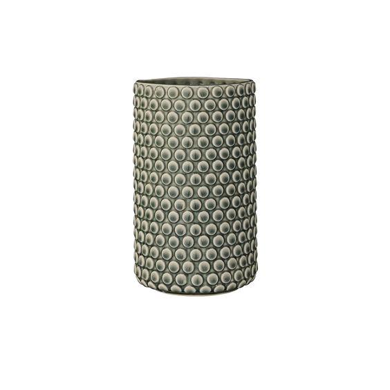 Vas verde ceramica, design cu cercuri, Dimensiuni: dia=12.5cm, h=21cm Producator: Bloomingville, Danemarca.