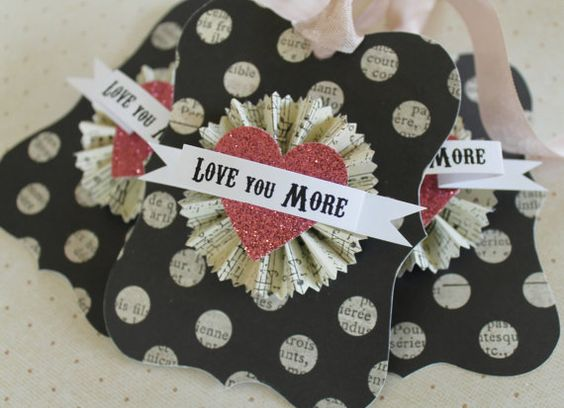 Valentine Gift Tags Love You More Black Polka Dot Pink Glitter Heart Vintage French Bracket Paper Rosette Favor Tag by HoggBarnAntiques, $6.00