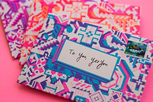 self-sealing stationary. love the colors and pattern