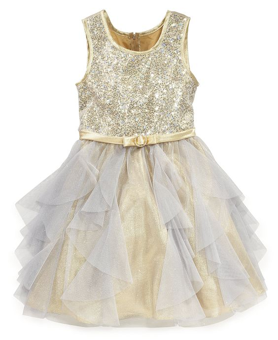 Bonnie Jean Girls Dress, Girls Sequin Glitter Tulle Dress - Kids Girls Dresses - Macy's