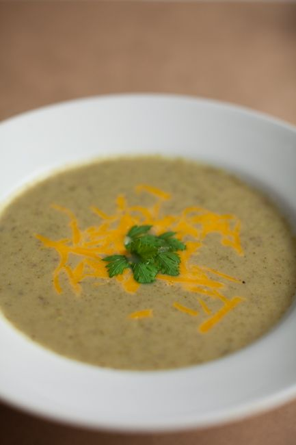 Broccoli Soup-Increase the proportion of beans to cheese. The beans make it really creamy.