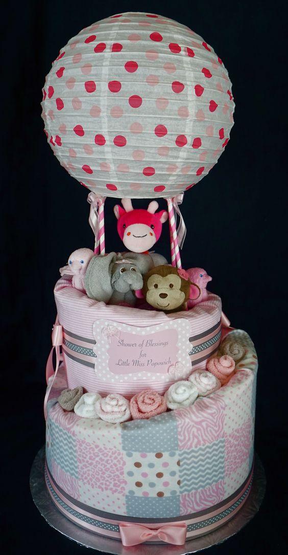 hot air balloon diaper cake diaper cakes pinterest. Black Bedroom Furniture Sets. Home Design Ideas