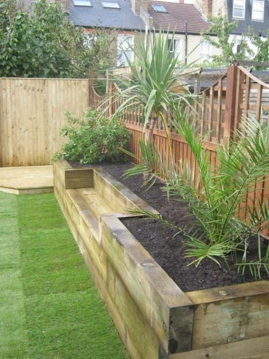 Beautiful Cheap Wooden Sleepers 4 Bench Raised Bed Made Of Railway Sleepers This W Inexpensive Backyard Ideas Small Backyard Landscaping Front Garden Design