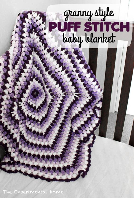 Granny style puff stitch baby blanket at theexperimentalhome.com ...