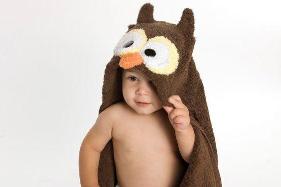 Toalha de banho com capuz de Coruja - Owl baby hooded towel