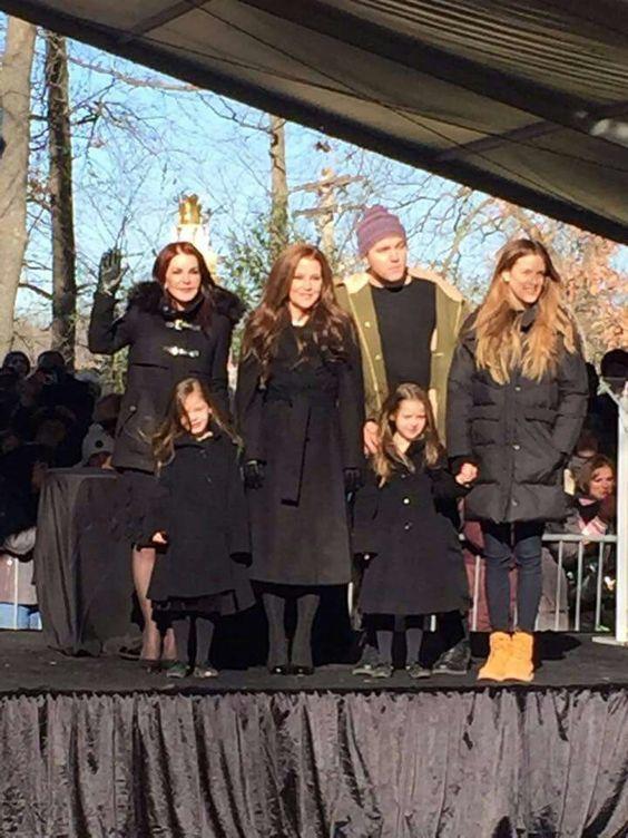 Elvis Priscilla, Lisa Marie and Lisa's children. January 8, 2015 - Elvis' 80th birthday. @ Graceland