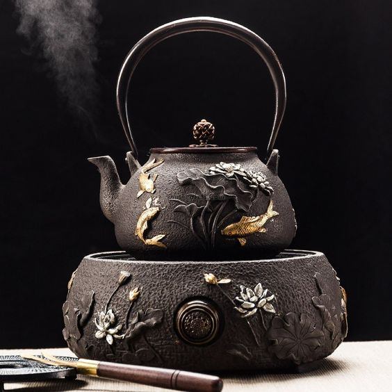 Fish Lotus Cast Iron Teapot With Induction Cooker