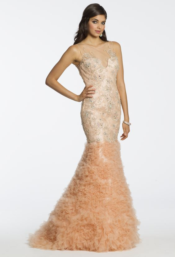 Camille La Vie Lace and Shirred Flounce Style Prom Dress with Mermaid Silhouette