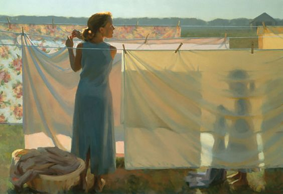 Figurative Painting by American Artist Jeffrey T. Larson  The beauty is in my memories of the smell of sheets and clothes on the line at grandmas. Comfort.