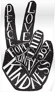Peace Sign with words Peace, Love, Faith, Joy, Hope, Kindness, Unity Poster