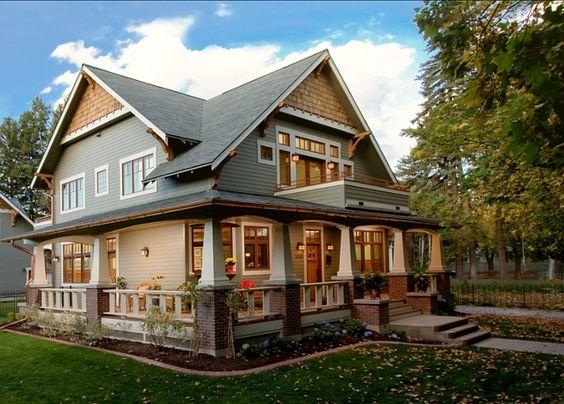 Craftsman style home love the wrap around porch!