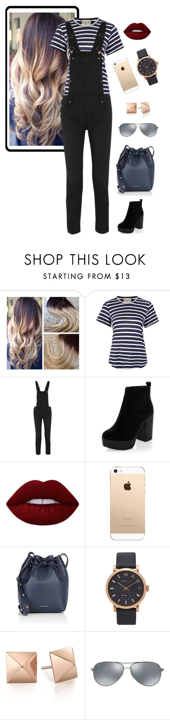 """""""High Street"""" by snowflake-city ❤ liked on Polyvore featuring Sea, New York, Maje, Lime Crime, Mansur Gavriel, Marc Jacobs and Ray-Ban"""