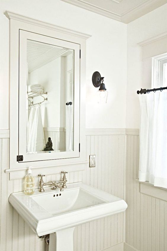 Jessica Helgerson - Gorgeous built-in medicine cabinet - beadboard and pedestal sink with nickel faucet
