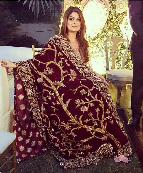 Maroon Pakistani Wedding Winter Dress