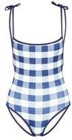 Solid & Striped 'The Poppy' low back gingham check tie swimsuit
