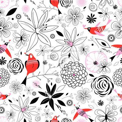 papier peint motif floral avec des oiseaux vintage. Black Bedroom Furniture Sets. Home Design Ideas