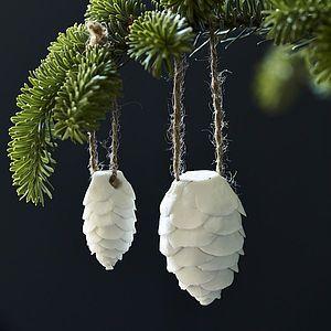 Elvie Mini Ceramic Pinecones, Set Of Six