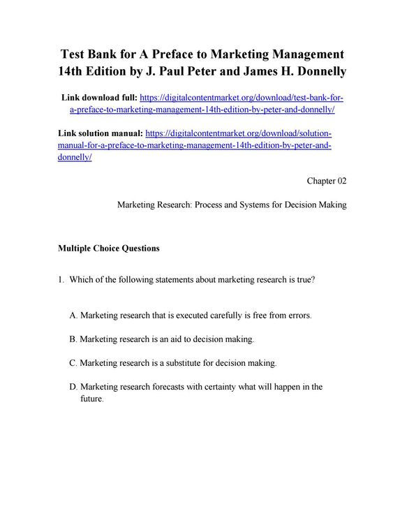 Download Test Bank For A Preface To Marketing Management 14th Edition By Peter And Donnelly Test Bank Marketing Manager Management