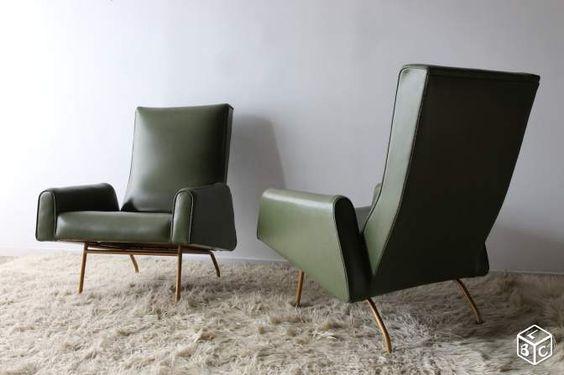 Paire de fauteuils vintage en skai annees 50/60 Ameublement Paris - leboncoin.fr