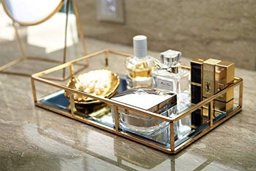 Putwo Mirrored Tray Perfume Tray Candle Tray Mirror Tray Table Gold Ornate Tray Gold Vanity Tray Gold Drinks Tray M In 2020 Mirror Vanity Tray Vanity Tray Mirror Tray