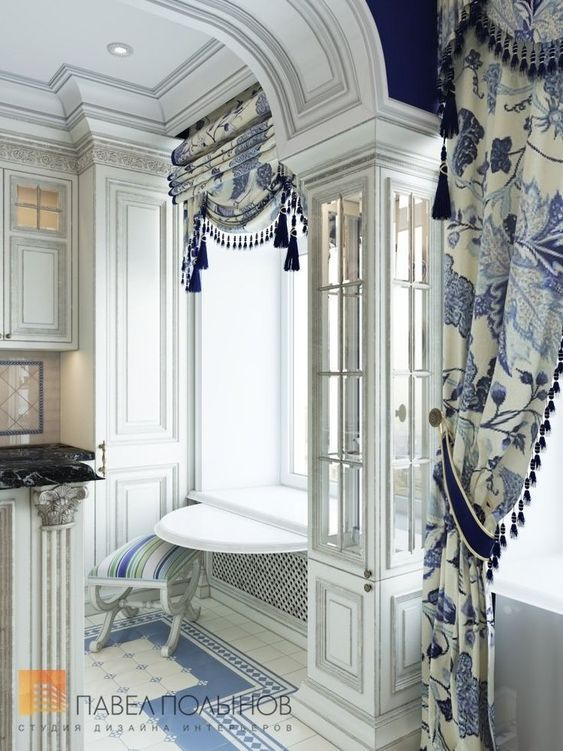 Traditional Blue And White Draperies Curtains Home Drapery Treatments,Home Office Furniture Designs