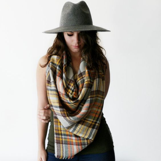 Plaid Scarf Blanket Oversize Cozy Fall Winter Spring by NatyBK